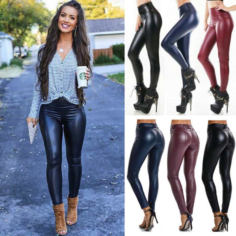 Womens Faux Leather Leggings High Waist Stretchy Push Up Pen