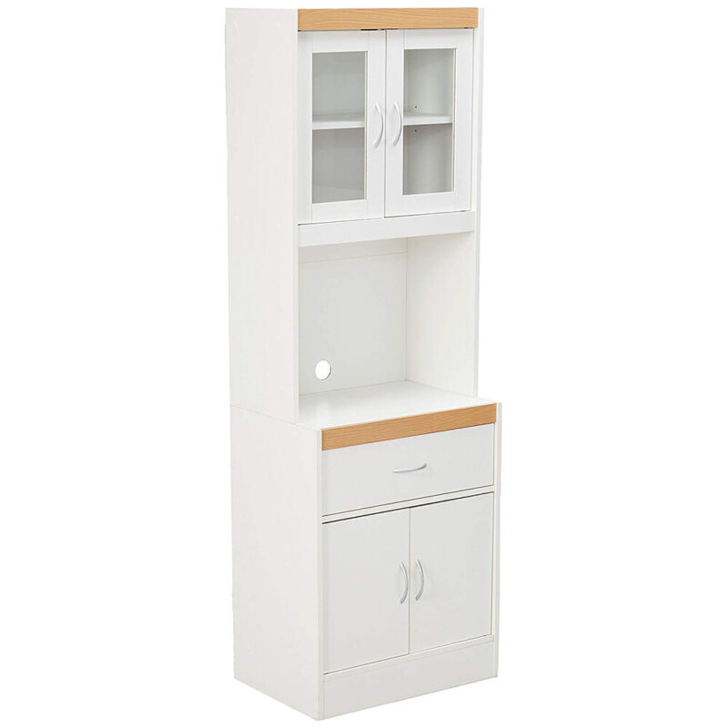 Hodedah Freestanding Kitchen Storage Cabinet w/ Open Space for Microwave, White