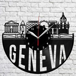 Geneva Skyline Vinyl Record Wall Clock Home Fan Art Decor 12'' 30 cm 7088