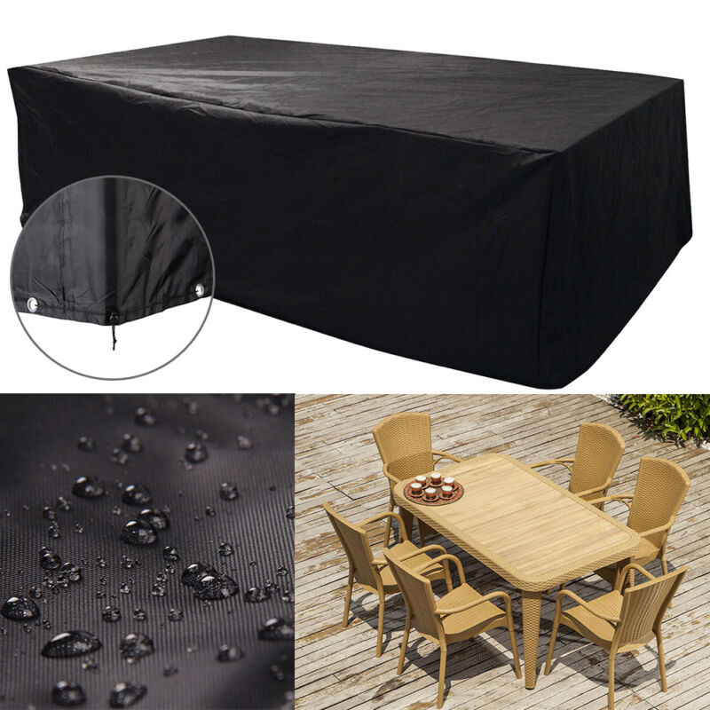 Waterproof rectangular black garden patio furniture cover for Outdoor furniture covers in black