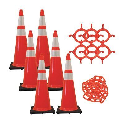 36 Safety Cones And Chain Kit Traffic Orange Reflective Collars 6pk