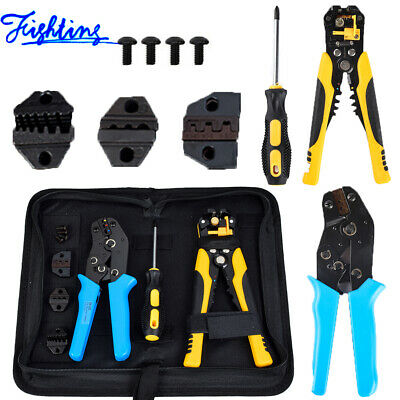 4 In 1 Wire Crimpers Kit Ratcheting Terminal Crimping Pliers Cord End Tools Us