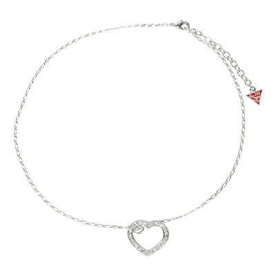 Guess Jewelry UBN81012 Ladies Silver Stainless Steel Heart Crystal Necklace Crystals Guess Ladies Jewelry