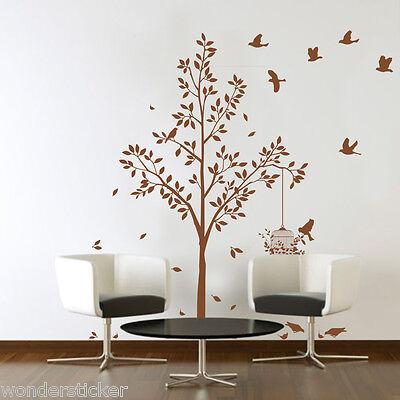 (Tree Birds & Cage Wall Art Vinyl Sticker, DIY Wall Sticker Decal- HIGH QUALITY)