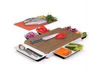 Brand New Boxed Unikia Chop n Serve Kitchen Innovations Chopping Board & Integrated Serving Dish