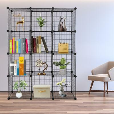 12 Grids Interlocking Book Storage Shelf Organiser Cube Model Display Iron Wire