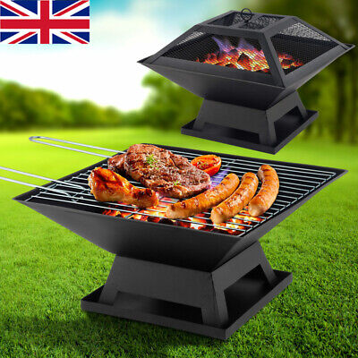 Square Fire Pit BBQ Grill Outdoor Garden Firepit Brazier Stove Patio Heater Home