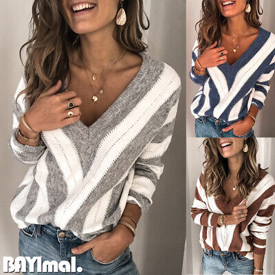 Women Knitted Striped V Neck Sweater Tops Ladies Casual Loose Jumper Pullover UK