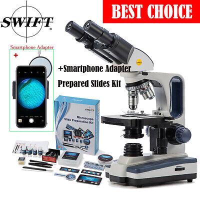 Swift 40x-2500x Binocular Researcher Microscope Phone Adapter66pcs Accessories