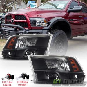 2009-2018 Dodge Ram 1500 10-18 2500 3500 Headlights Black Quad Style Headlamps