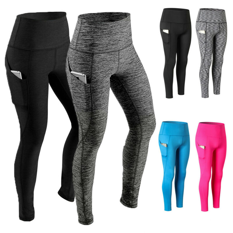Women High Waist Yoga Leggings Pocket Fitness Sport Gym Work