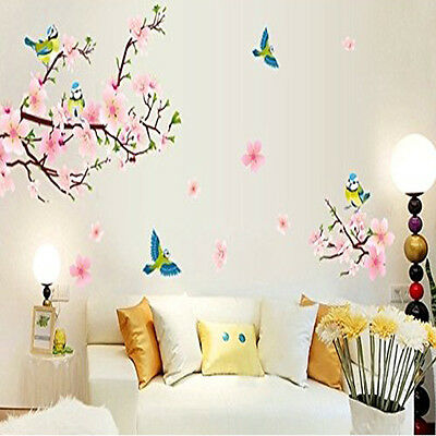 Removable Plum Blossom Flower Bird Wall Decal Sticker Art Mural Home Decor US