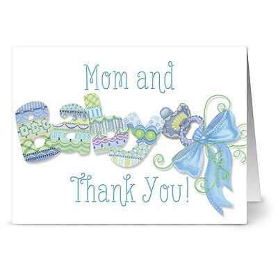 24 Note Cards - Mom and Baby Thank You Blue - Cobalt Blue Envs