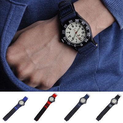 Kinder leuchtende Quarz-analoge Uhr-Nylonband mit Klettverschluss Armbanduhr