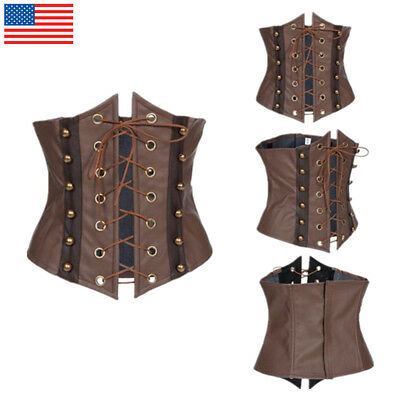 Brown Faux Leather Underbust Corset Bustier Waist Belt Gothic  Steampunk Costume](Bustier Costumes)
