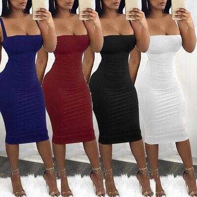 Sexy Womens Spaghetti Strap Backless Bandage Party Bodycon Midi Dress Clubwear