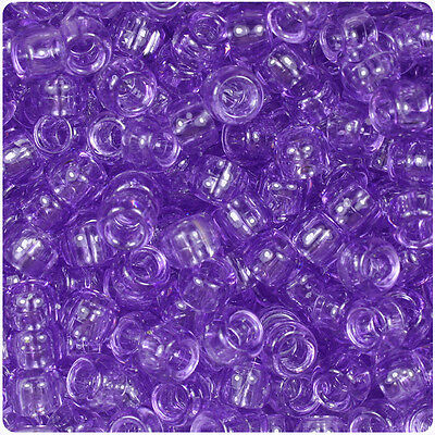 500 Pale Purple Transparent 9mm Barrel Pony Beads Made in the USA ()