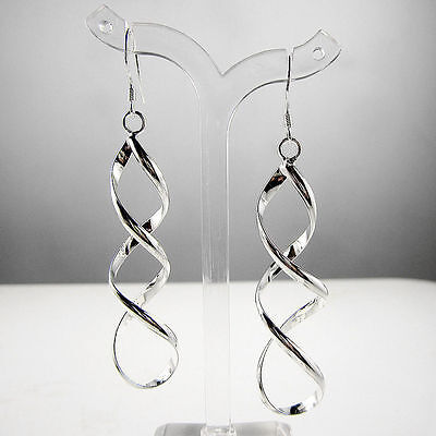 Sterling Silver Plated Spiral Drop Hook Earrings Women's Fashion Jewelry