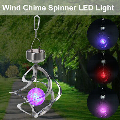 Color Changing Solar Wind Chime Light LED Hanging Spinner Waterproof Lamp