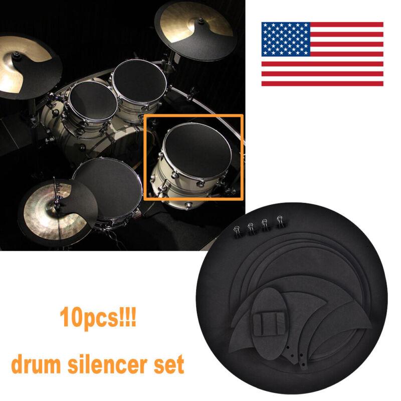 10pcs Black Rubber Foam Drum Silencer Mute Drumming Sound off Practice Pad Set