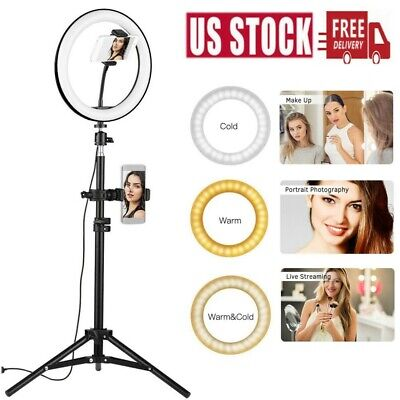 "10"" Selfie Desktop LED Ring Light Dimmable w/Tripod Stand Phone Holder for Vedio"