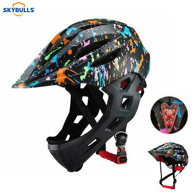 Skybulls Full Face Fahrradhelm&Motorradhelm Kinderhelm mit LED MTB Downhill Helm