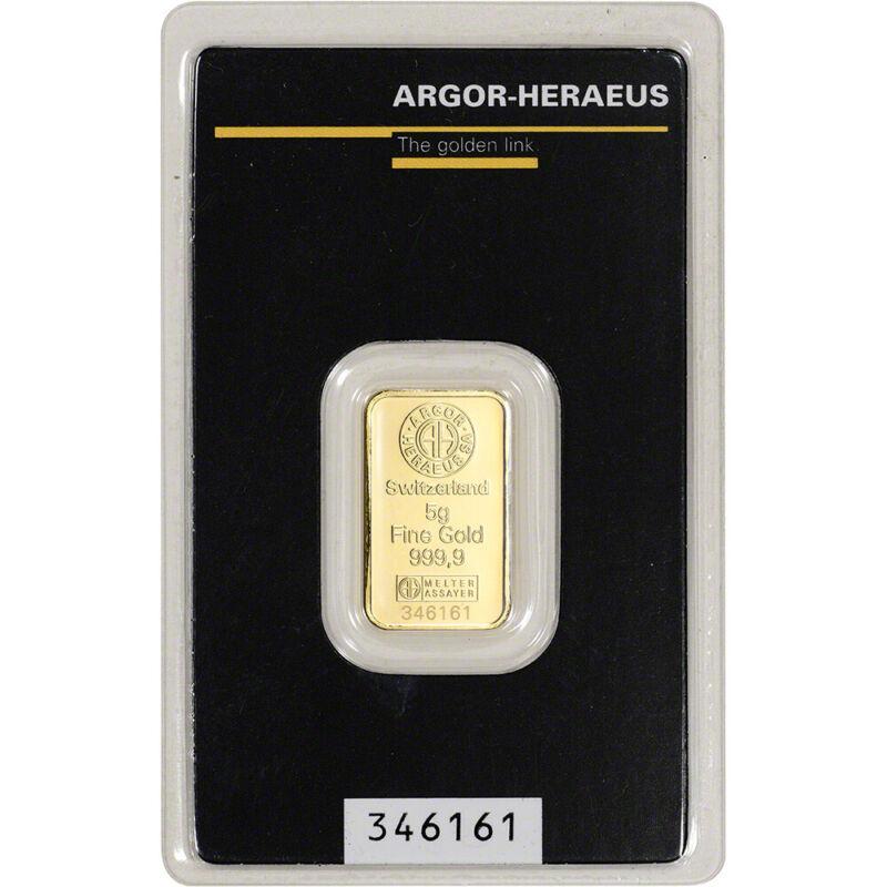 5 gram Gold Bar - Argor Heraeus - 999.9 Fine in Assay