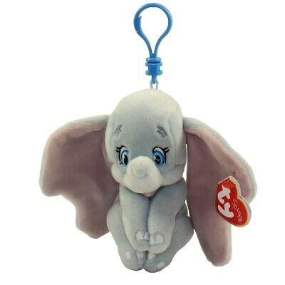 "TY Beanie Baby 3"" DUMBO Elephant Key Clip Stuffed Animal Toy Plush w/ Heart Tags"