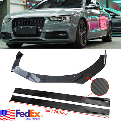 Front Bumper Lip Splitters +78.7'' Side Skirts Carbon For AUDI A3 A4 A5 A6 A7