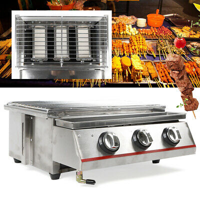 BBQ Barbeque 3 Burner Grill Stainless Steel Outdoor Cooker Fire Pit Griddle (Best 3 Burner Grill)
