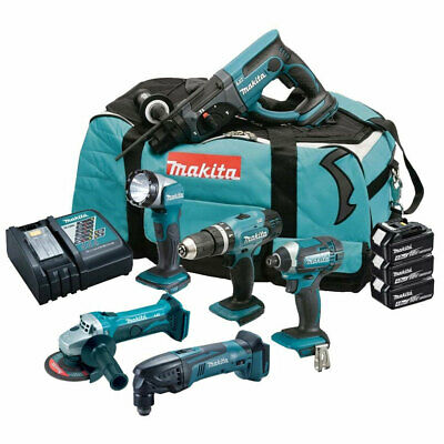 Makita DLX6075M 18V LXT 6 Piece Combo Kit 3 x 4.0Ah Batteries Charger & Tool