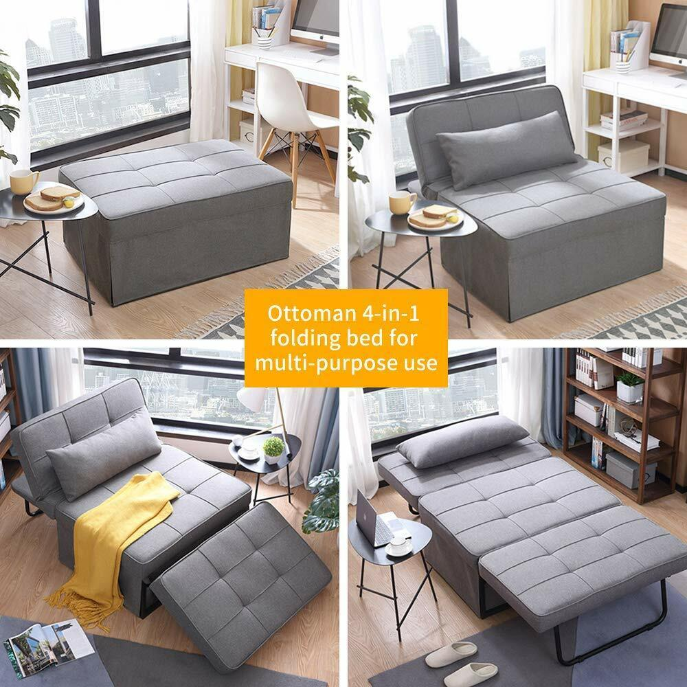 Adjustable Sofa Bed Folding Reclining Convertible Chair/Ottoman Arm Chair