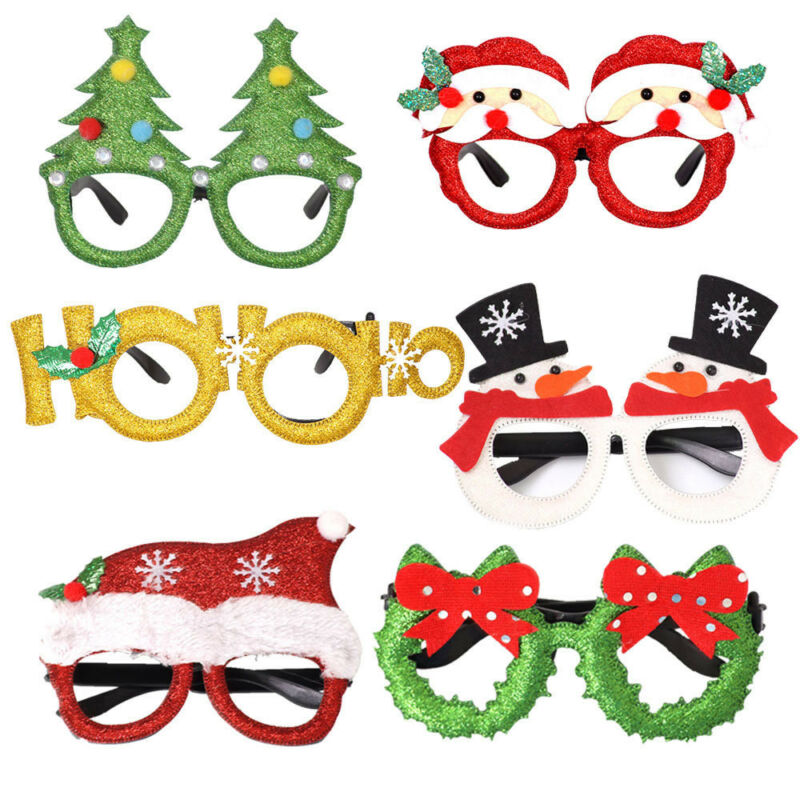Christmas Party Glasses Santa Snowman Adult Kids Gift Favors