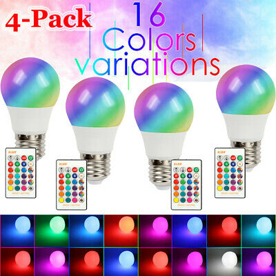 Color Light Bulbs ([4-Pack] Color Changing Light RGB LED Bulbs Dimmable Party Lights Remote)