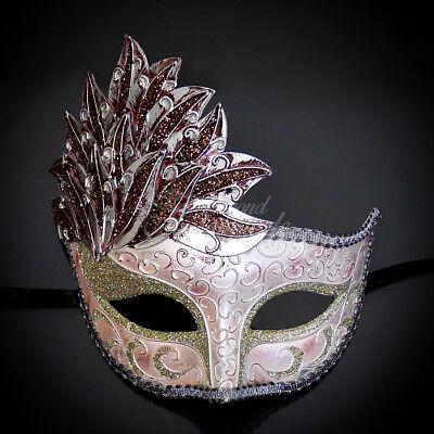 Gold Masquerade Mask (Gold & Pink Venetian Leaf Engraving Masquerade Mask for Women)