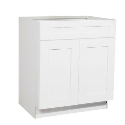 Shaker White Sink Bathroom Vanity Cabinet 27""