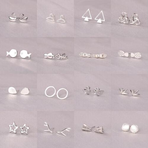 Fashion Women Girl 925 Silver Sterling Mini Ear Stud Earring