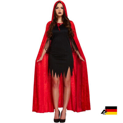 DA ROT SAMT VELVET UMHANG cape Halloween Fasching - Roter Samt Umhang