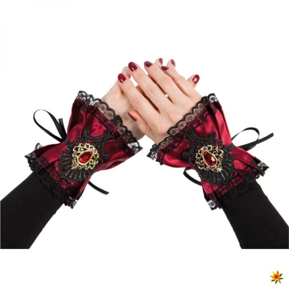Gothic Arm-Manschetten dunkelrot Steampunk Handschuhe Fasching Armbänder Stulpen