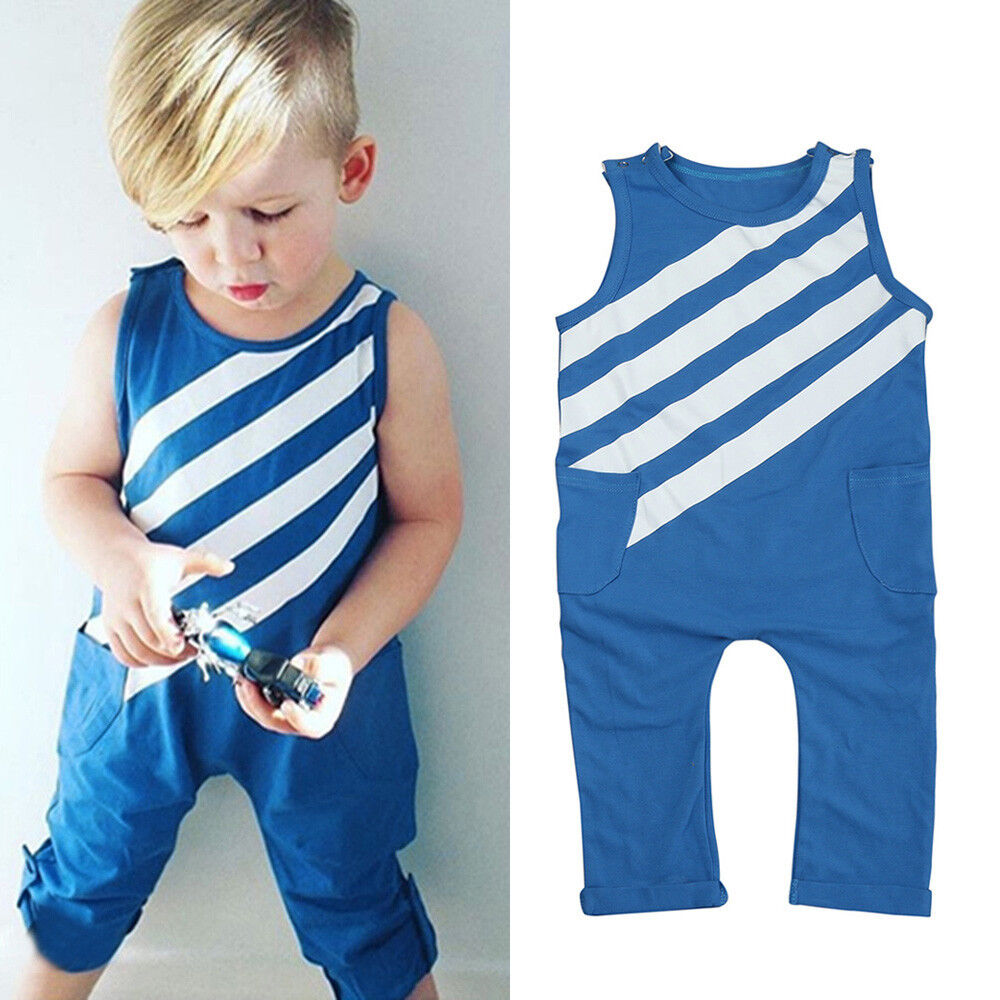 Newborn Infant Toddler Baby Boy Striped Jumpsuit Romper Playsuit Outfits Clothes