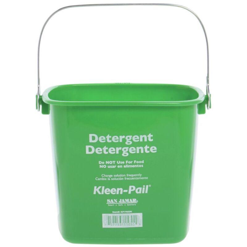 """San Jamar 6 qt Green Plastic Kleen-PailCleaning Bucket - 8 1/4""""L x 8 1/4""""W x 7"""