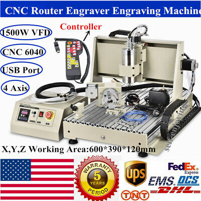 Usb 4 Axis 6040 Cnc Router Engraver 1500w Vfdspindle Milling Machine Handwheel