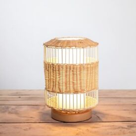 Tall Wire and Natural Weave Table Lamp