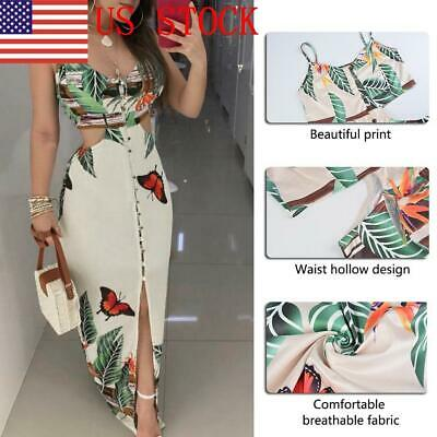 HOT Women Spaghetti Strap Tropical Print Cutout Dress Sleeveless Casual -