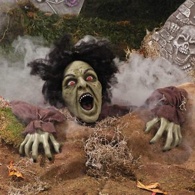 Groundbreaker Clawing Graveyard Animated Zombie Halloween Outdoor Yard Decor LED