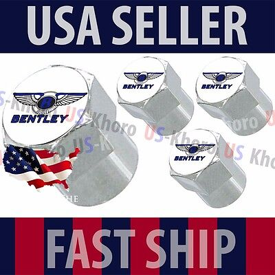 Bentley Blue Logo Valves Stems Caps Covers Chrome Wheel Roundel Tire Emblem *USA