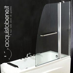 Box parete a 2 ante per vasca da bagno con vetro trasparente 6mm stile moderno ebay - Parete doccia per vasca da bagno ...