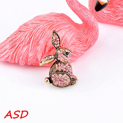 Cute Rabbit Tiny Full Pink White Rhinestone Silver Gold Animal Brooch For Party