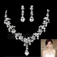 9k White Gold Filled Beautiful Luxury Crystal Set Necklace+pendant+ Earrings - abercrombie & fitch - ebay.co.uk