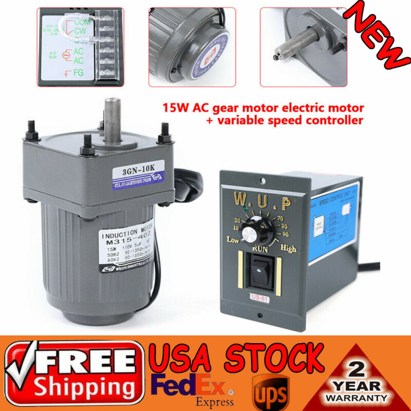 110V gear motor electric variable speed controller 1:10 125RPM Smooth operation